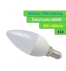 E14 - 8W - 806lm LED lemputė šaltai balta - 6000K