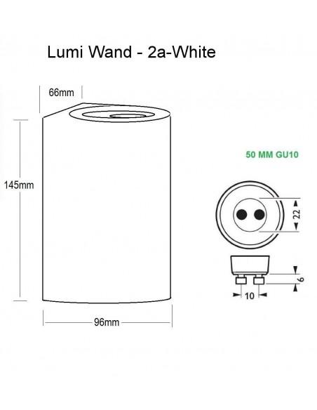 Sieninis LED lauko šviestuvas - Lumi Wand-2a White
