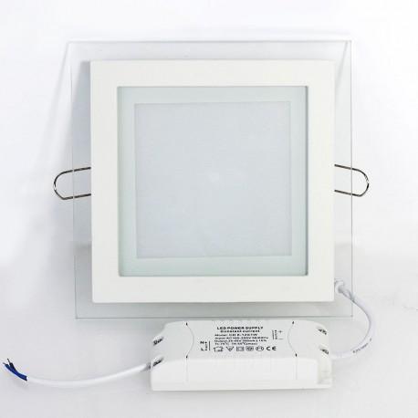 Įleidžiama LED panelė su stiklu - 6W kvadratas šilta balta 3000K