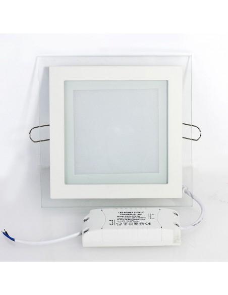 Įleidžiama LED panelė su stiklu - 12W kvadratas neutrali balta 4500K