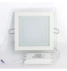 Įleidžiama LED panelė su stiklu - 18W kvadratas neutrali balta 4500K