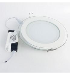 Įleidžiama LED panelė su stiklu - 6W apvali šilta balta 3000K