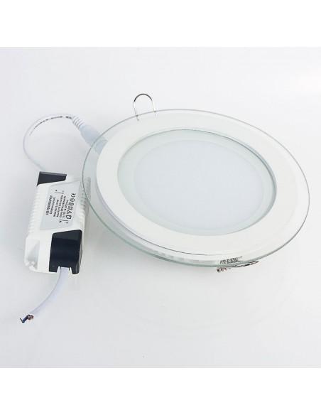 Įleidžiama stiklinė LED panelė - 18W apvali šilta balta 3000K