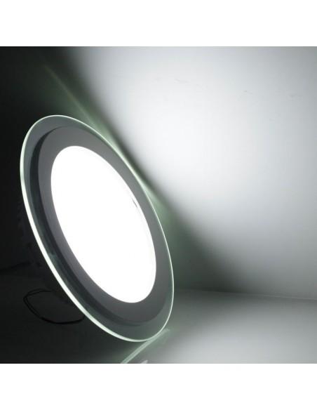 Įleidžiama LED panelė su stiklu - 12W apvali neutrali balta 4500K