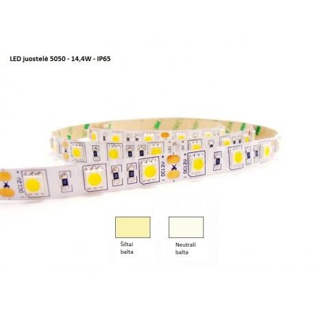 LED juostelė 5050 - 14,4W/m - IP65 neutrali balta