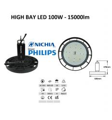 100W LED sandėlio šviestuvas HIGH BAY - 15000lm - 4500K