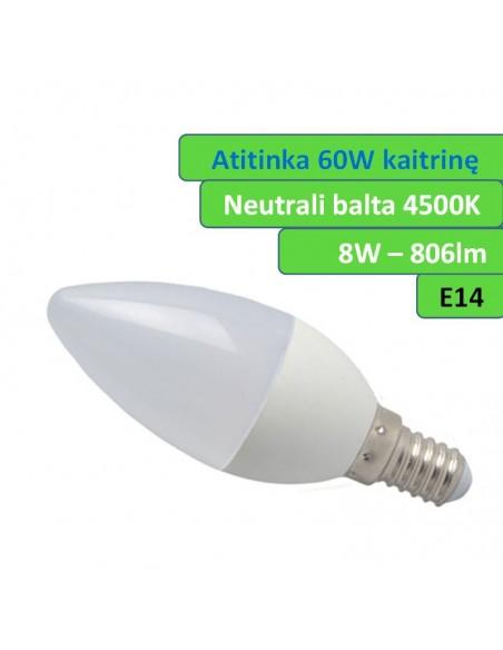LED lemputė E14 - 8,5W - 806lm Neutrali balta