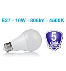 E27 - 10W - 800lm LED lemputė