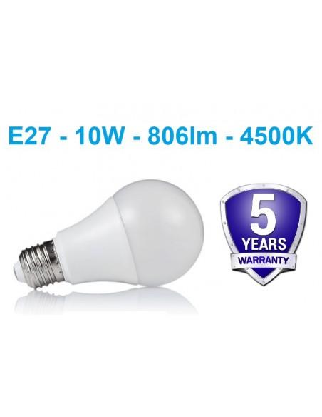 E27 - 10W - 806lm - 4500K LED lemputė