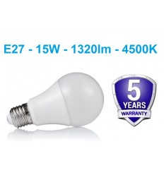 LED lemputė E27 - 15W neutrali balta