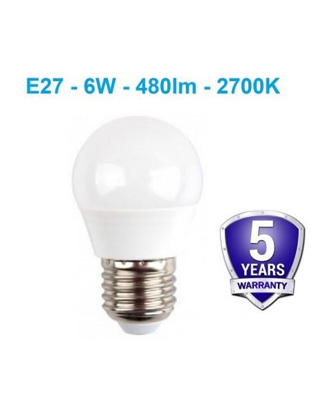 LED lemputė E27 - 6W - 480lm - 2700K