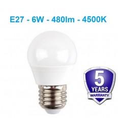 E27 - 6W - 480lm LED lemputė