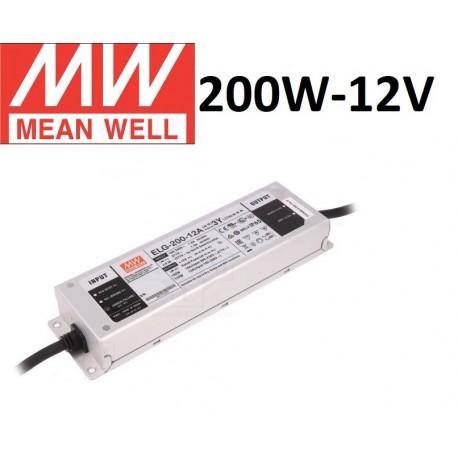 Profesionalus Mean Well LED maitinimo šaltinis ELG-200W-12V