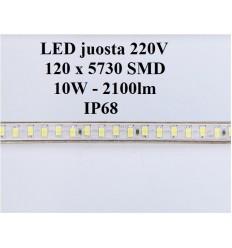 LED juosta 220V - 10W - 2100lm šiltai balta IP68