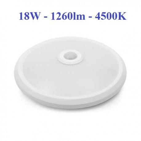 LED šviestuvas su judesio davikliu 18W - 4500K