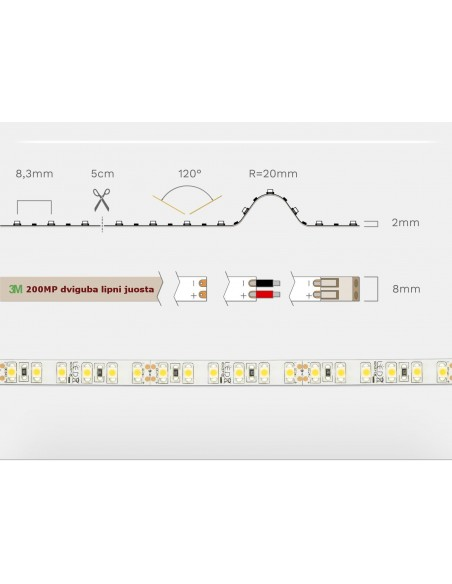 LED juosta 24V - 12W/m - 3000K