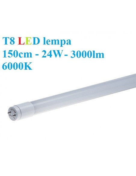 T8 LED lempa 150cm - 24W - 3000lm - 6000K