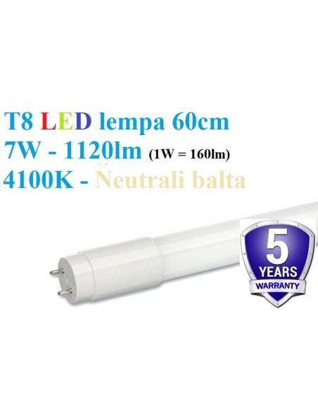60cm - T8 LED lempa - 7W - 1120lm - 4100K