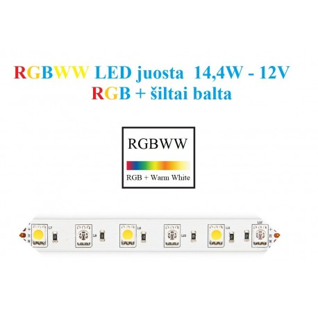 RGBW LED juosta 5050 - 60 SMD/m - IP20