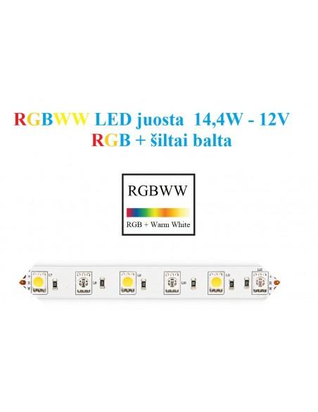 RGB+WW  LED juosta 5050 - 60 SMD/m - IP20