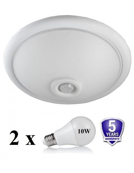 Šviestuvas su judesio davikliu + 2 LED lemputės