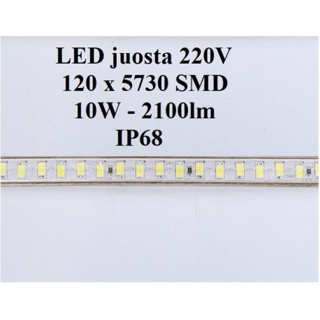 LED juosta 220V - 10W  šaltai balta IP68