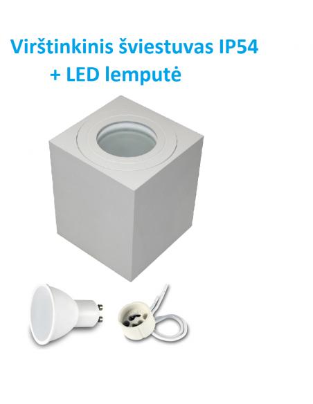 Virštinkinis kvadratinis LED šviestuvas į pakalimą GU10 baltas