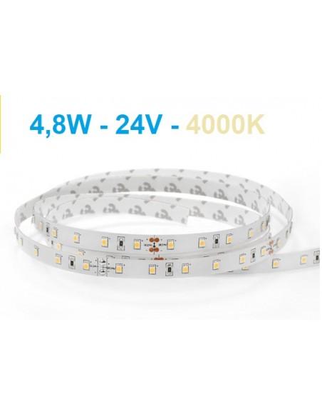 LED juosta - 4,8W - 24V - 4000K - IP20 neutrali balta