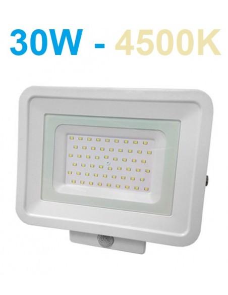 LED prožektorius baltas su judesio davikliu 30W - 4500K