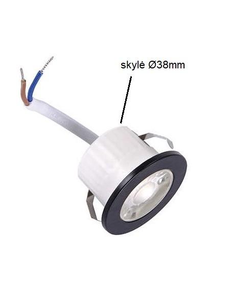 LED šviestuvas į pakalimą 3W - 4000K - IP44 juodas