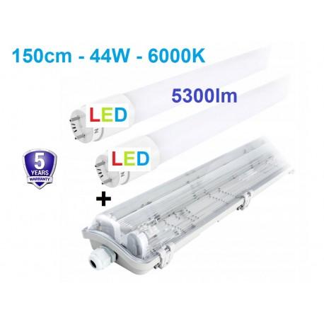 T8 hermetinis LED šviestuvas 150cm + 2 x LED T8 lempos 6000K - IP65
