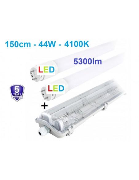 T8 hermetinis šviestuvas + 2 x LED T8 lempos 4100K - 150cm - IP65