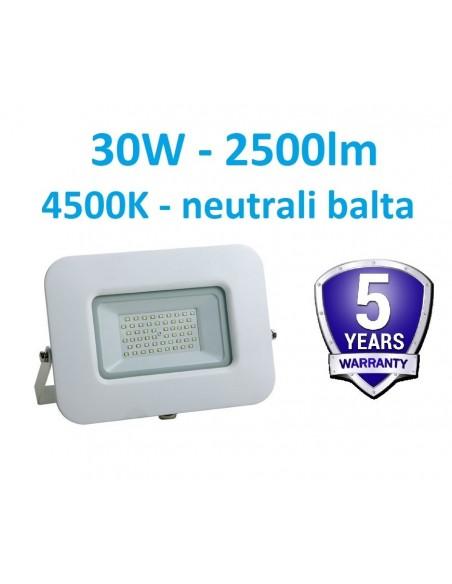 LED prožektorius baltas 30W - 4500K