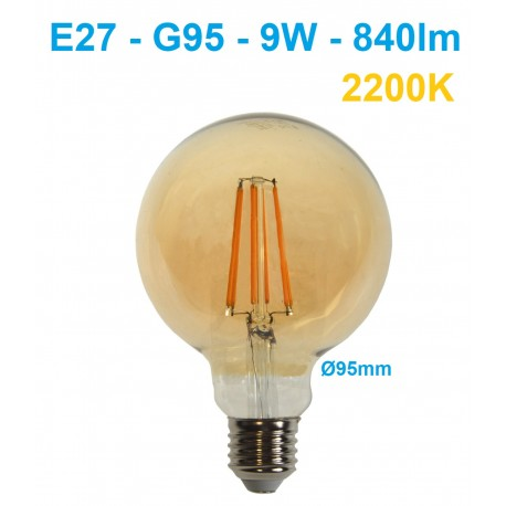 LED lemputė E27 G95 filament - 9W - 840lm - 2200K