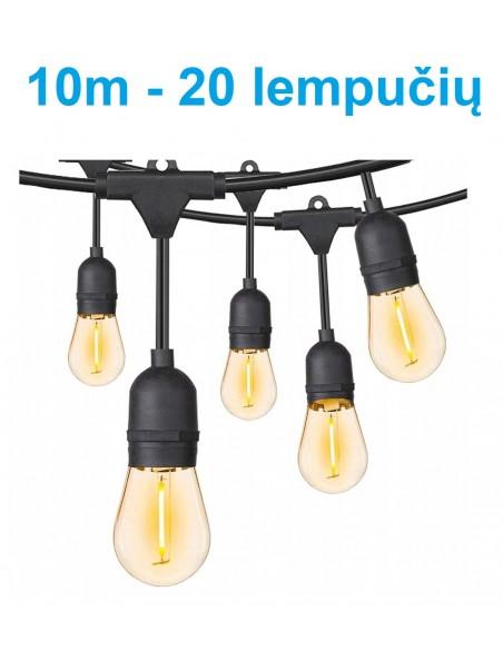 Lauko girlianda E27 - 10 metrų 20 LED lempučių