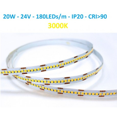 24V LED juosta - 20W - 3000K -180smd CRI90