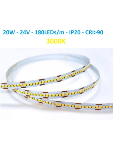 24V LED juosta - 20W - 3000K -180LEDs/m CRI90