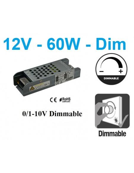 Reguliuojamas LED maitinimo šaltinis 60W - 12V TRIAC / 0/1-10V